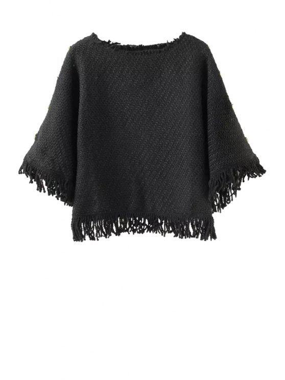 unique Solid Color Tassels Spliced Sweater - BLACK S