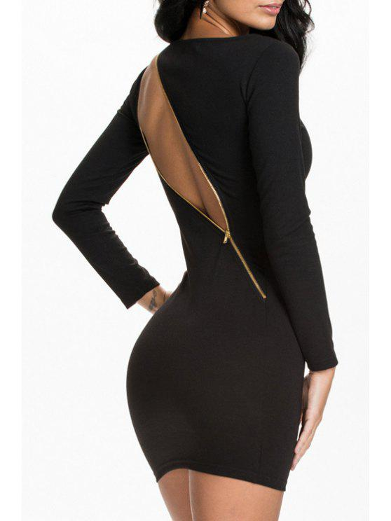 women's Black Long Sleeve Zipper Bodycon Dress - BLACK XL
