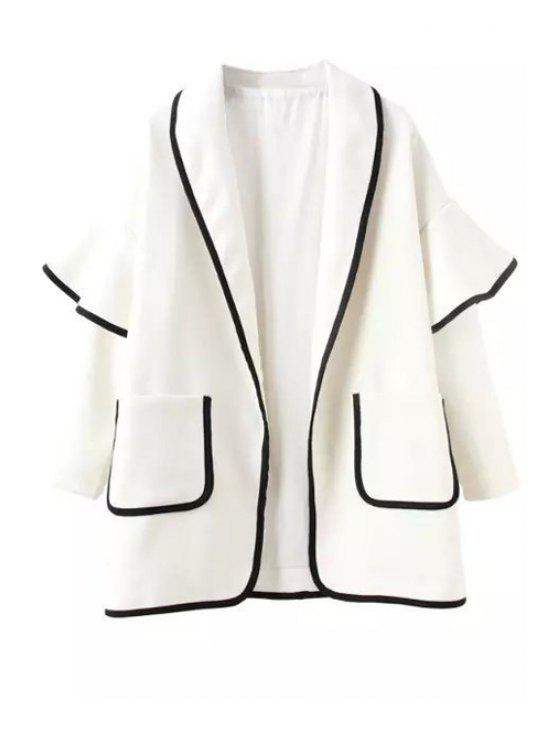 outfit Bell Sleeve Pocket Trench Coat - WHITE S