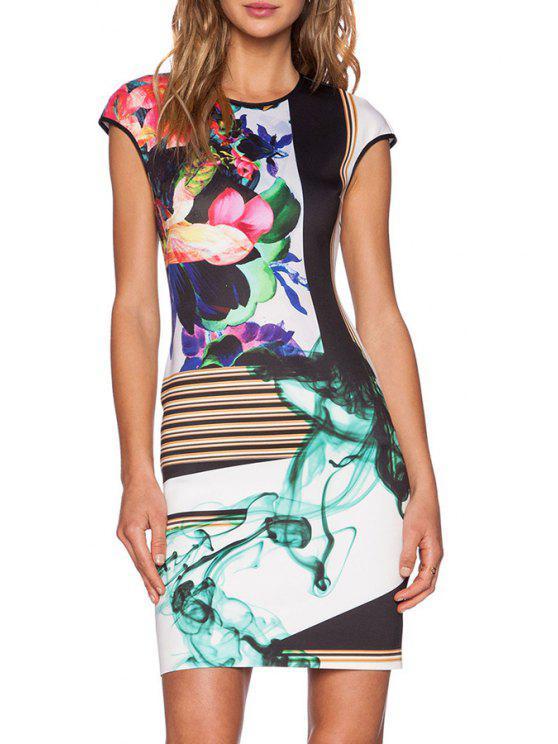 affordable Floral Round Neck Short Sleeve Dress - COLORMIX S