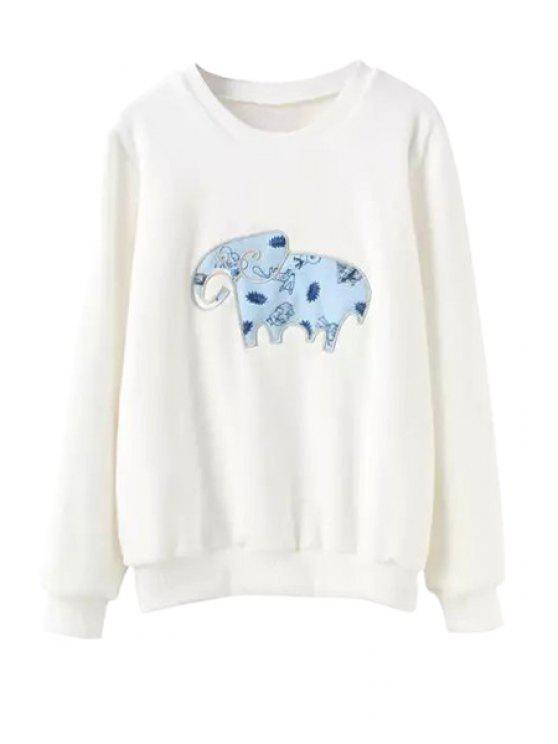 fashion Long Sleeve Elephant Print Sweatshirt - WHITE S