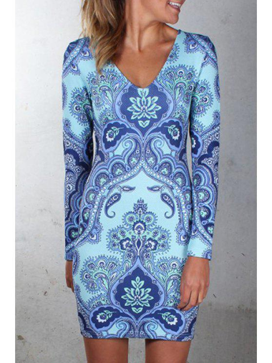 fancy Vintage Print V Neck Long Sleeves Dress - BLUE AND WHITE L