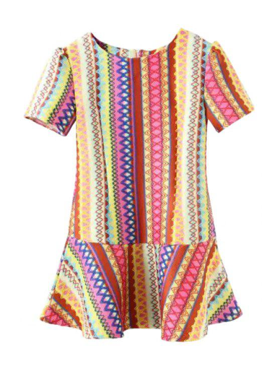 affordable Short Sleeve Colorful Ruffled Dress - COLORMIX S