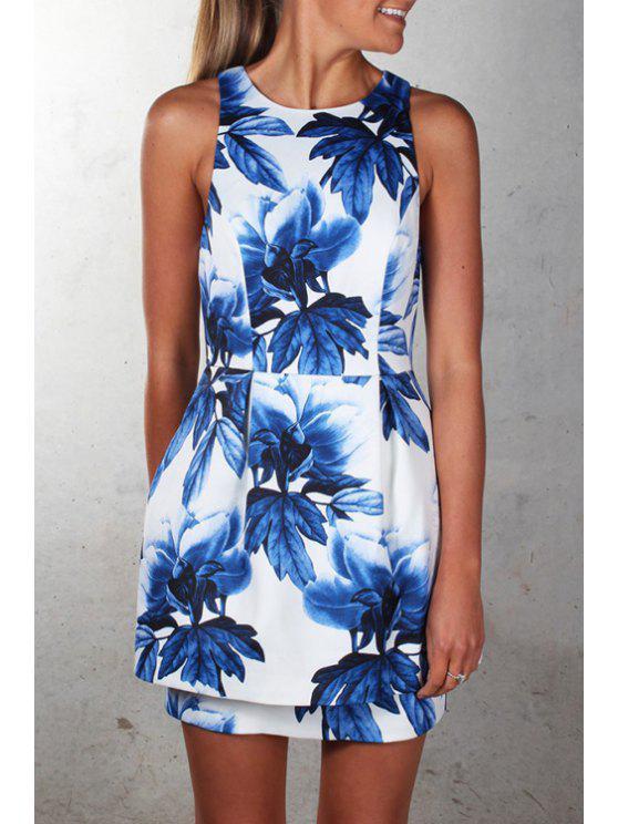 sale Blue Flower Print Sleeveless Dress - BLUE AND WHITE S
