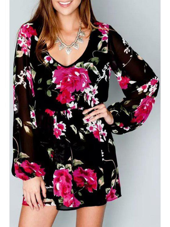 fancy V Neck Floral Print Ruffle Long Sleeve Dress - BLACK S