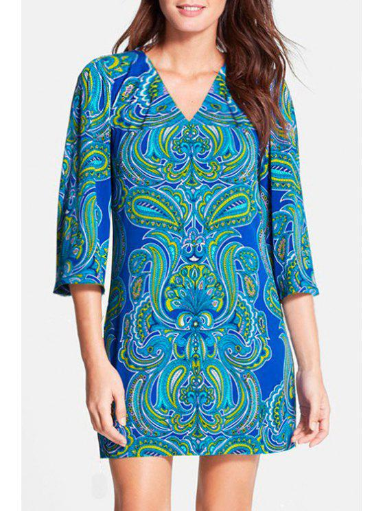 women's Paisley Print V Neck 3/4 Sleeves Dress - BLUE S