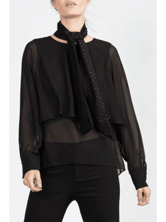 outfits See-Through Multi-Layered Long Sleeve Blouse - BLACK S