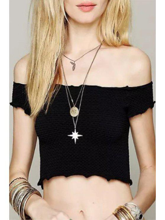 buy Slash Collar Solid Color Short Sleeve Crop Top - BLACK S