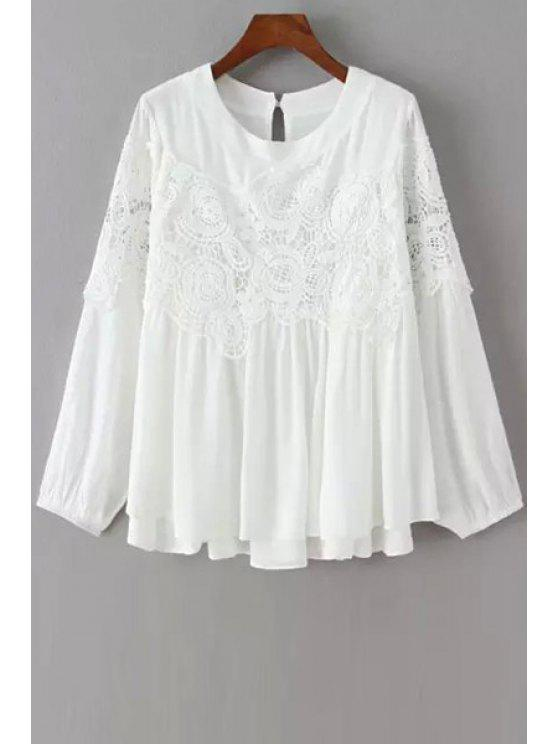 hot Lace Splicing Openwork Long Sleeve Blouse - WHITE M
