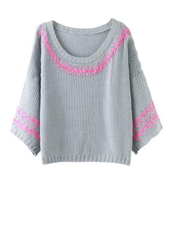 sale Batwing Sleeve Embroidered Jumper - GRAY ONE SIZE(FIT SIZE XS TO M)