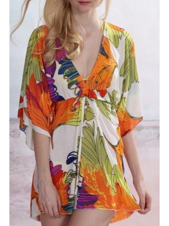 best Floral Plunging Neck Half Sleeve Cover Up - ORANGEPINK ONE SIZE(FIT SIZE XS TO M)