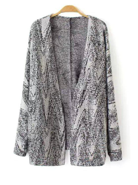 lady Open Front Long Cardigan - GRAY S