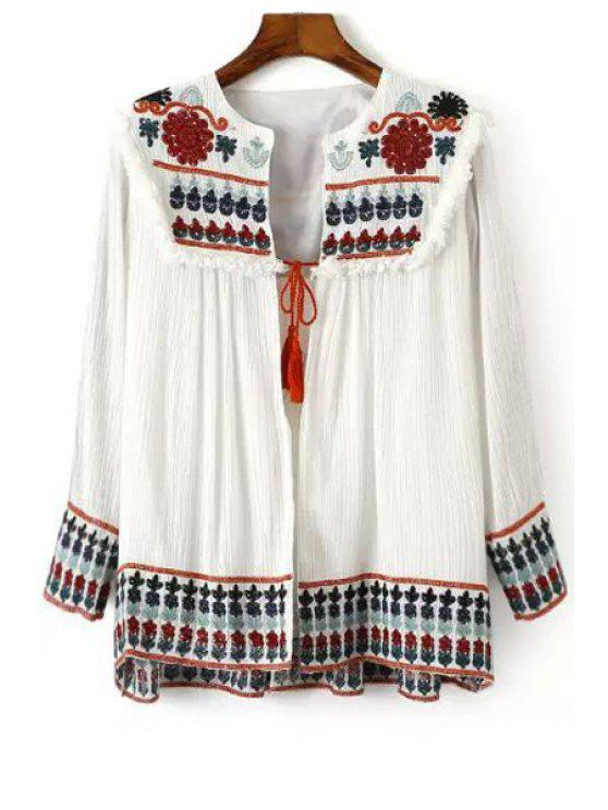 hot Long Sleeve Embroidered Lace-Up Blouse - WHITE S
