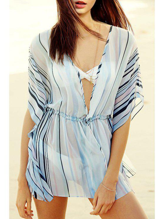 shops Striped Plunging Neck Half Sleeve Cover Up - LIGHT BLUE ONE SIZE(FIT SIZE XS TO M)