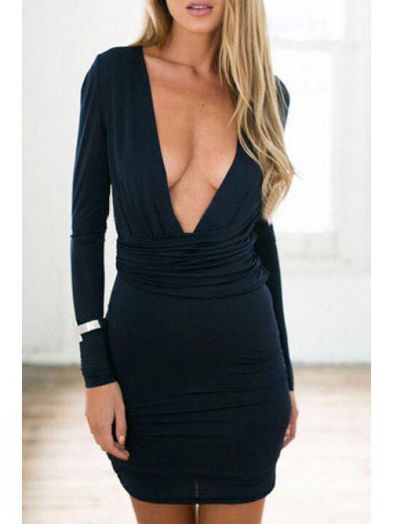 online Pure Color Plunging Neckline Long Sleeve Dress - BLACK S
