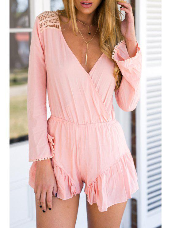 shop Pink Hollow Plunging Neck Long Sleeve Playsuit - PINK S