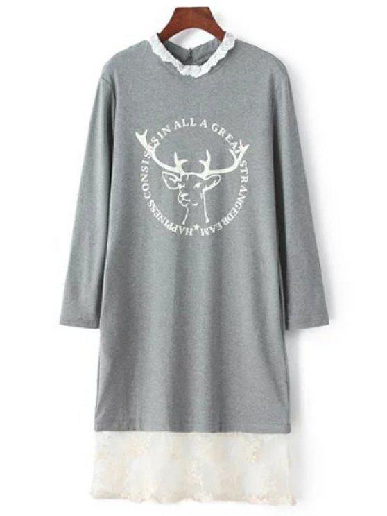 shops Lace Spliced Fawn Sweatshirt - GRAY XS