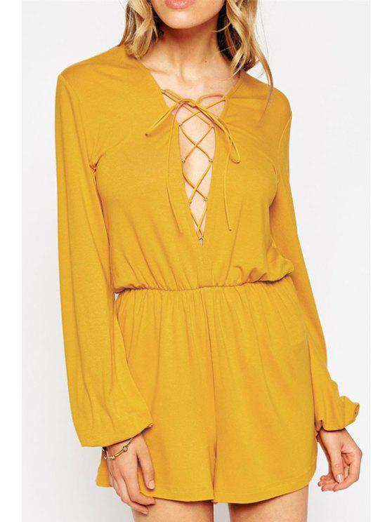 latest Plunging Neck Lace Up Solid Color Romper - GINGER L
