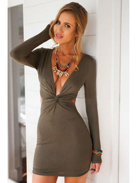 unique Long Sleeves Pure Color Bodycon Dress - ARMY GREEN S