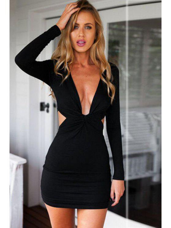 ladies Long Sleeves Pure Color Bodycon Dress - BLACK XL