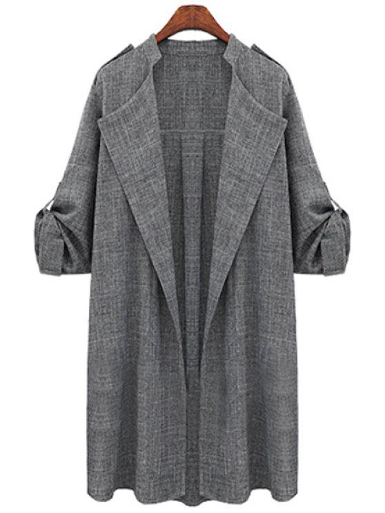shops Draped Sleeve Solid Color Trench Coat - GRAY XL