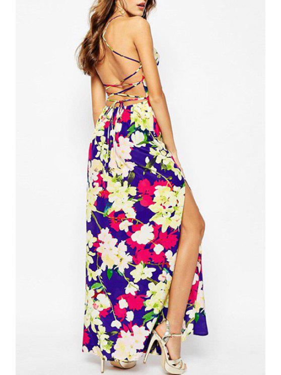 shops Spaghetti Strap Cross Sleeveless Floral Print Dress - AS THE PICTURE S
