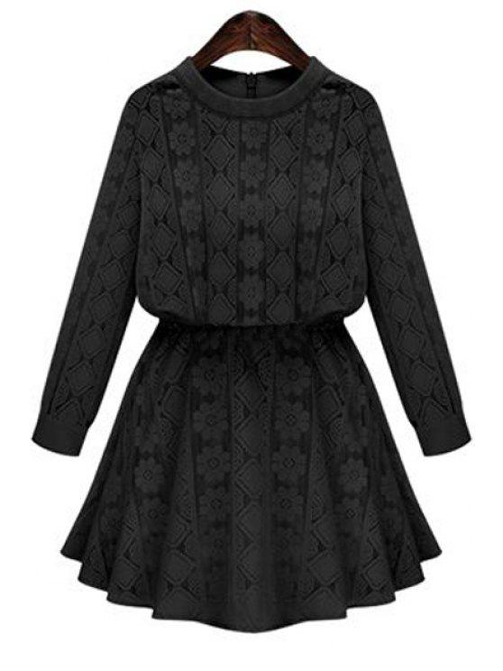 trendy Long Sleeve Openwork Lace Hook Dress - BLACK XL