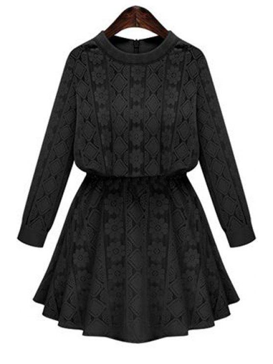 trendy Long Sleeve Openwork Lace Hook Dress - BLACK XL