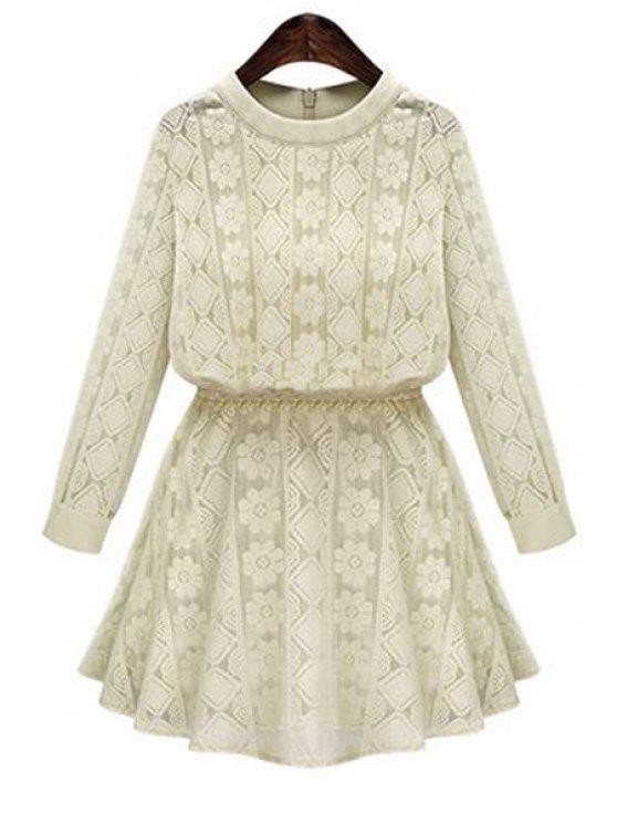 buy Long Sleeve Openwork Lace Hook Dress - APRICOT 3XL