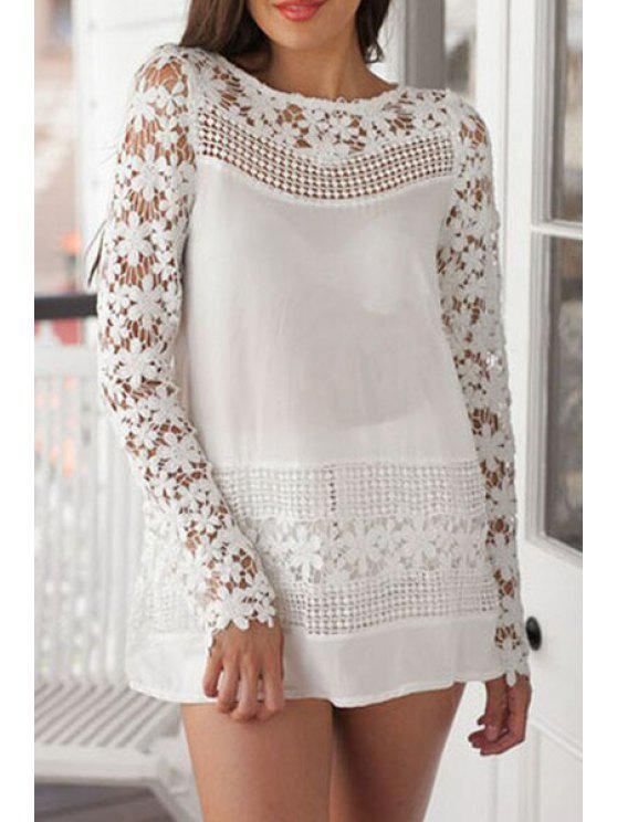 outfits Crochet Flowers Spliced Long Sleeves Dress - WHITE XL