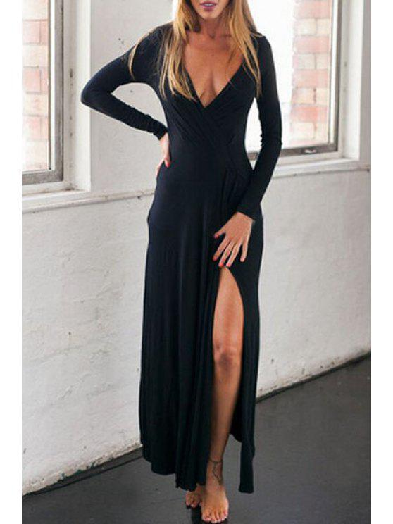 trendy Slit Plunging Neck Long Sleeve Maxi Dress - BLACK S
