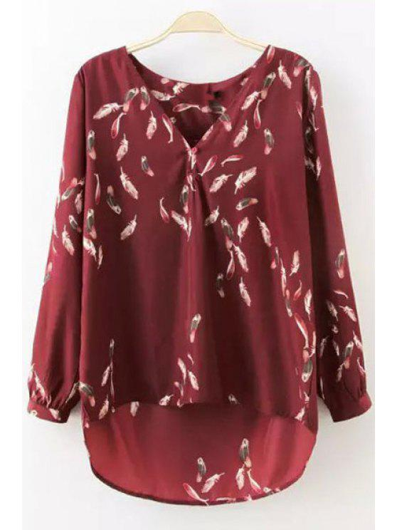 fancy Feather Print High Low Long Sleeve Shirt - RED S