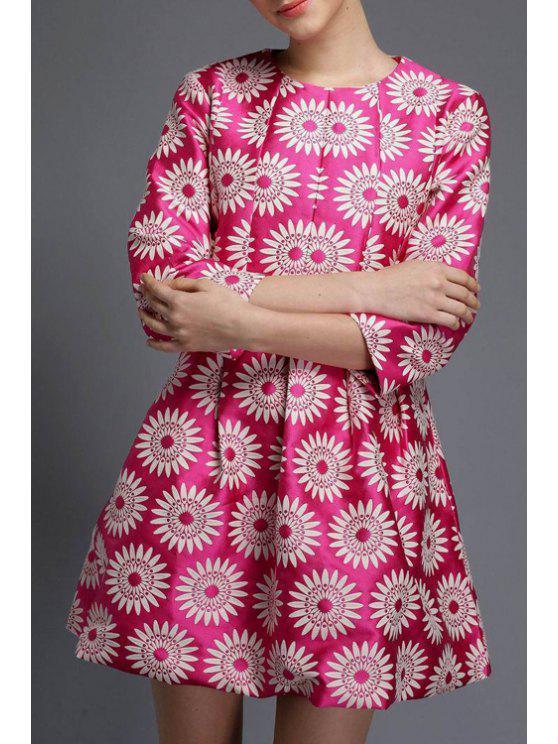 sale 3/4 Sleeve Sunflower A-Line Dress - ROSE S