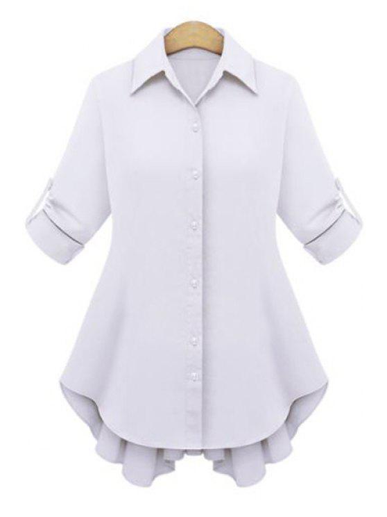 shop Draped Sleeve Tie-Up Dovetail Shirt - WHITE XL