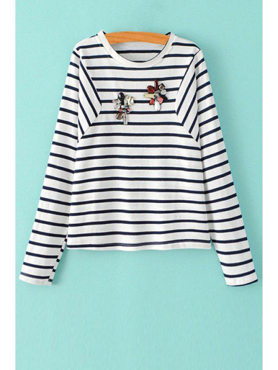 latest Stripe Rhinestone Embellished Long Sleeve T-Shirt - WHITE AND BLACK M