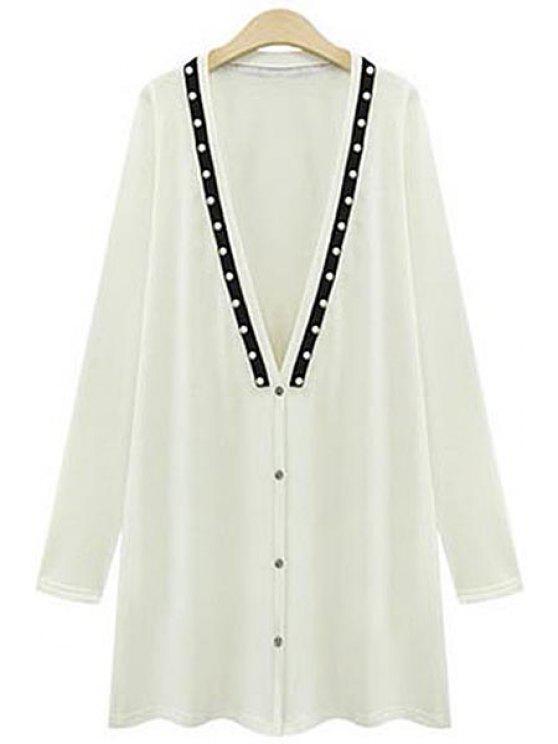 shops Long Sleeve Beading Long Cardigan - WHITE 3XL