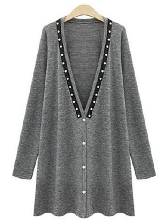 fashion Long Sleeve Beading Long Cardigan - GRAY XL