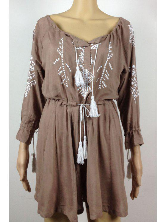 trendy Print V Neck Long Sleeve Playsuit - KHAKI S