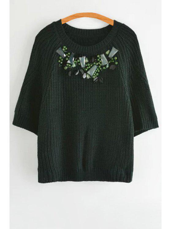 women's Artificial Gem Embellished 3/4 Sleeve Sweater - GREEN S