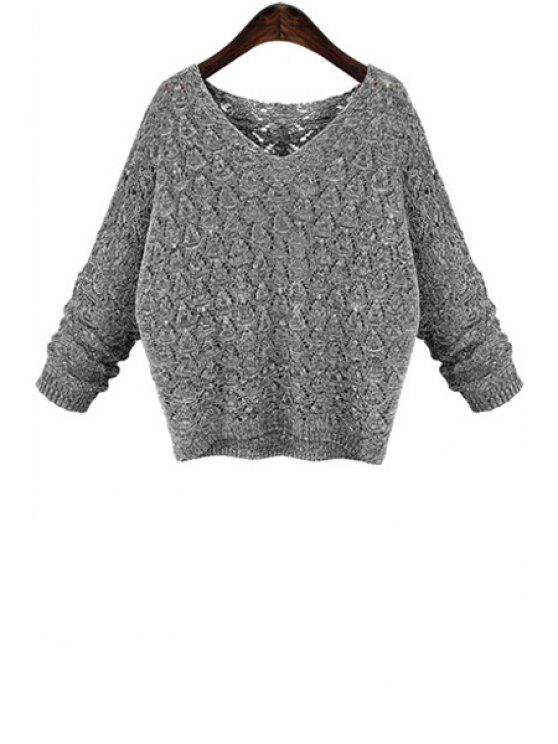 women Batwing Sleeve Hollow Sweater - GRAY 3XL