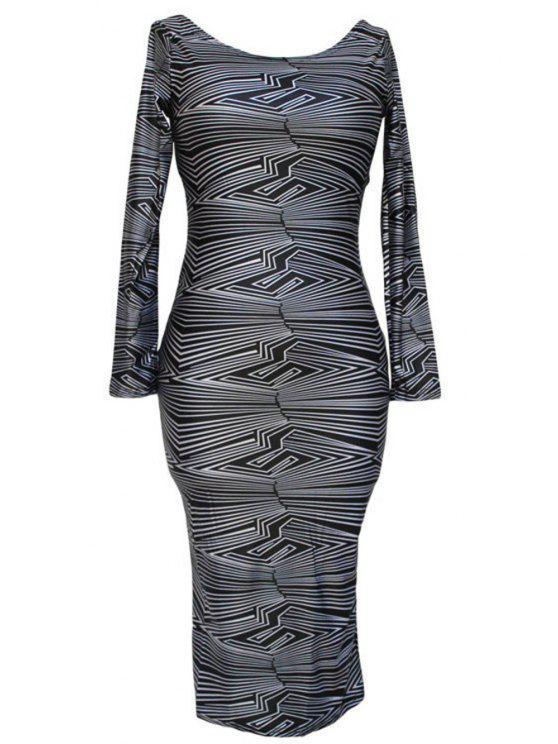 hot Stripes Scoop Neck Long Sleeve Bodycon Dress - BLACK S