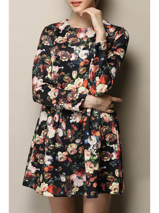 shops Long Sleeve Floral A-Line Dress - BLACK S