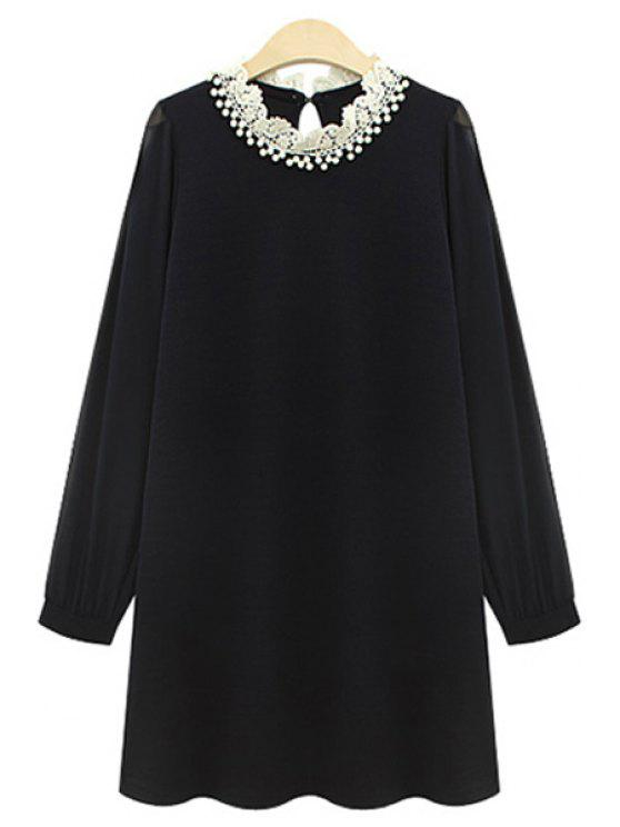 ladies Long Sleeve Beaded Chiffon Dress - BLACK 5XL