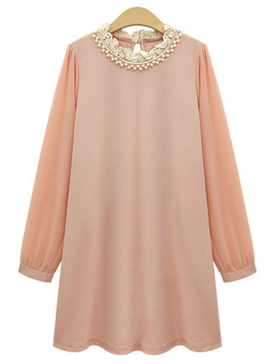 online Long Sleeve Beaded Chiffon Dress - PINK 2XL