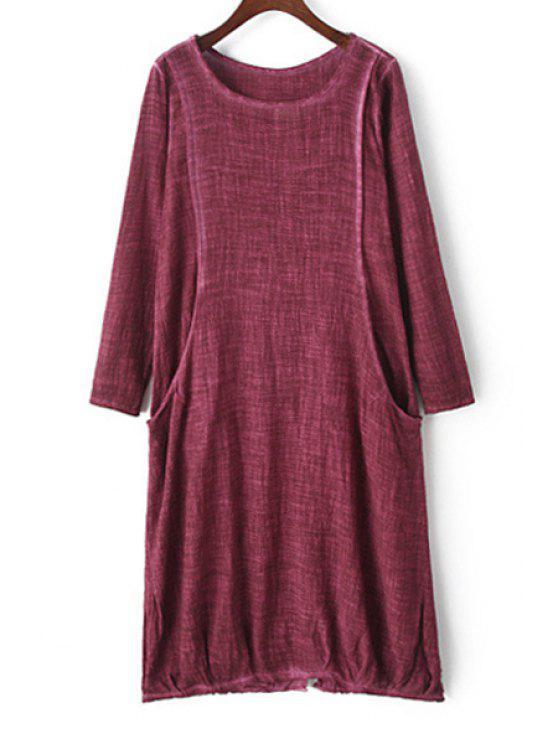 women Bleach Wash Back Split Long Sleeve Dress - RED M