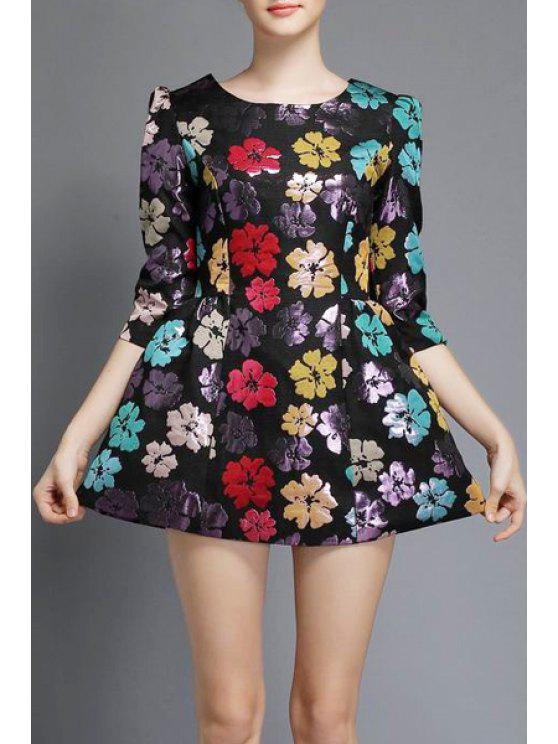 buy Three Quarter Sleeve Floral A-Line Dress - BLACK M
