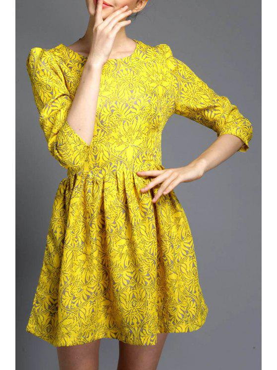 sale Floral A-Line Yellow Dress - YELLOW S