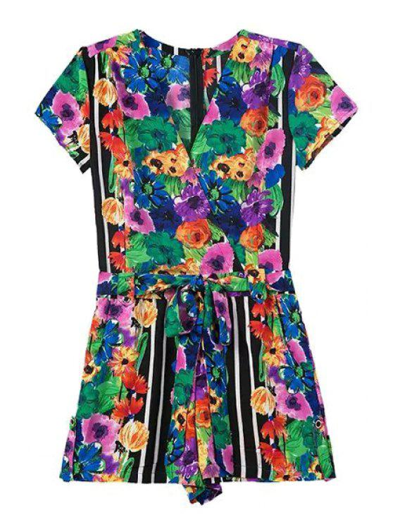 fashion Colorful Floral Print Short Sleeve Romper - COLORMIX S