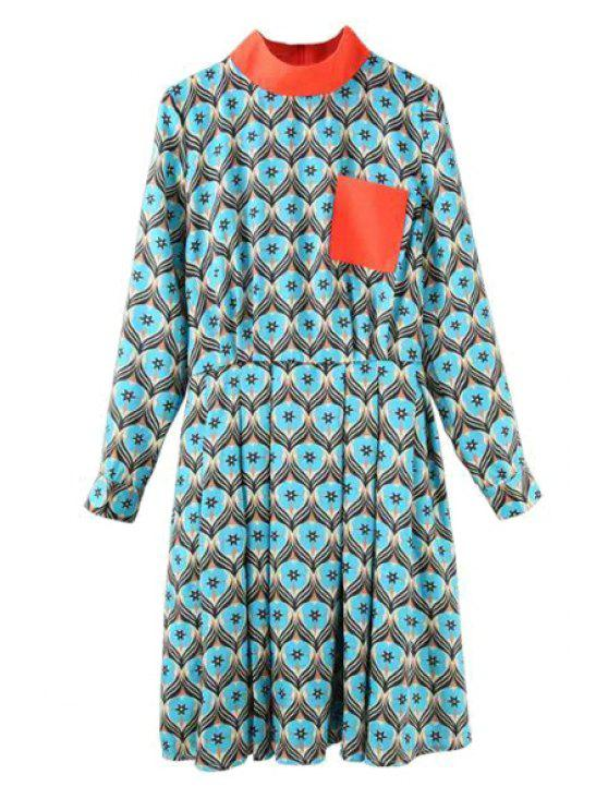 sale Stand-Up Collar Color Block Printed Dress - COLORMIX S