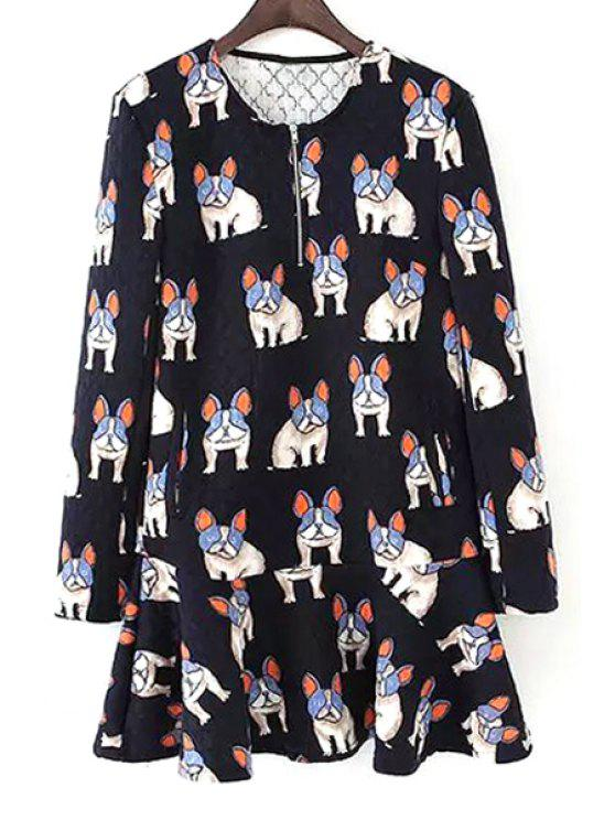 women's Dogs Print Long Sleeve Dress - BLACK S